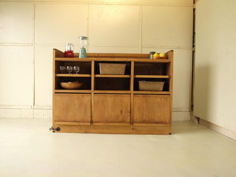 キッチンカウンター001 150×106×49 無垢 棚移動可 食器棚 DJブース