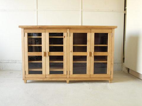 食器棚001 140×85×45 無垢 ガラス扉 棚移動可 キッチンボード