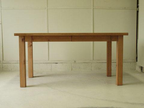 ダイニングテーブル002 150×73×80 無垢 引き出し4杯付き 脚取り外し可 4~6人用