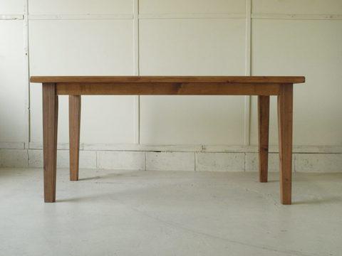 ダイニングテーブル004 150×72×80 無垢 脚テーパード 丸太耳加工 4~6人用