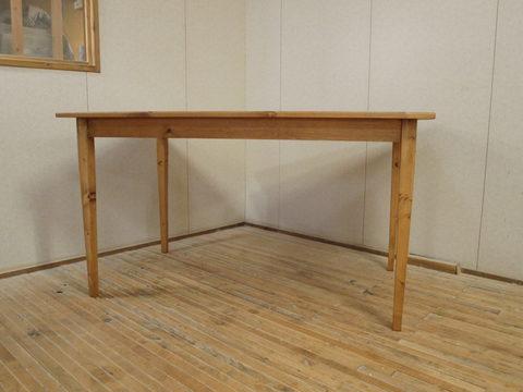 ダイニングテーブル003 130×72×80 無垢 脚細い 薄い天板 脚テーパード 4人用