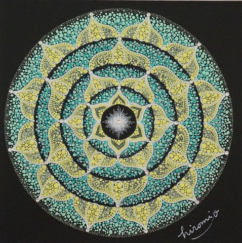 点描曼荼羅「ほほえみのある場所で」