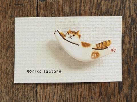 のび猫ブローチ茶白(norikofactory)