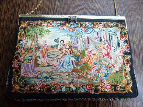 フランス製 芸術的な人物&風景モチーフのマイクロプチポワンバッグ