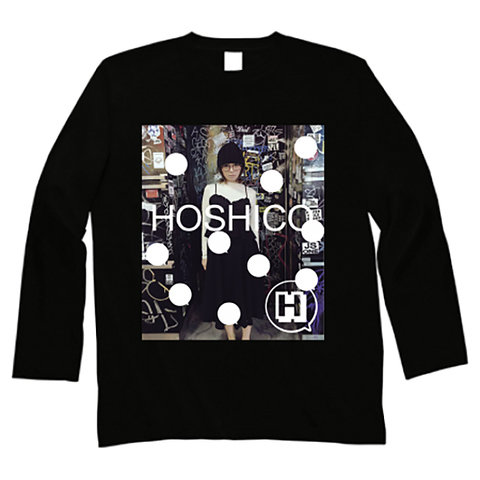 HOSHICO / Glasses of Girl Photo Long Sleeve T-shirt Black