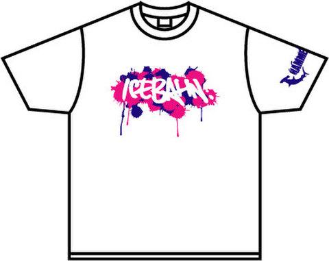 ICE BAHN tee -White/Blue+Pink-