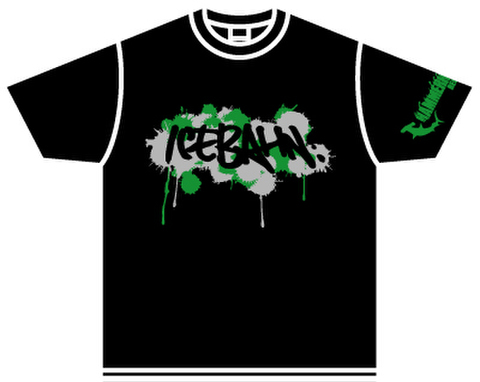 ICE BAHN tee -Black/Green+Gray-