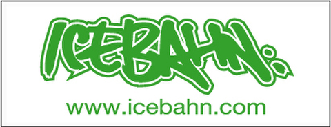 ICE BAHN sticker (White×Green)-Large-