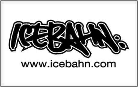 ICE BAHN sticker(White×Black) -Medium-