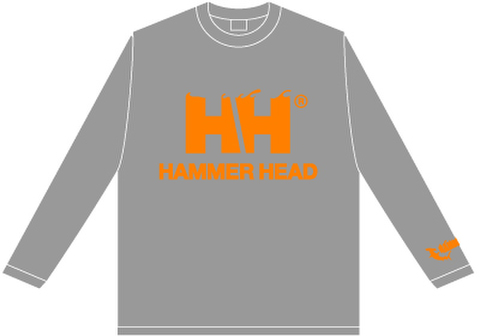 HAMMERHEAD Long tee -Gray/Orange-