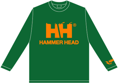 HAMMERHEAD Long tee -Green/Orange-