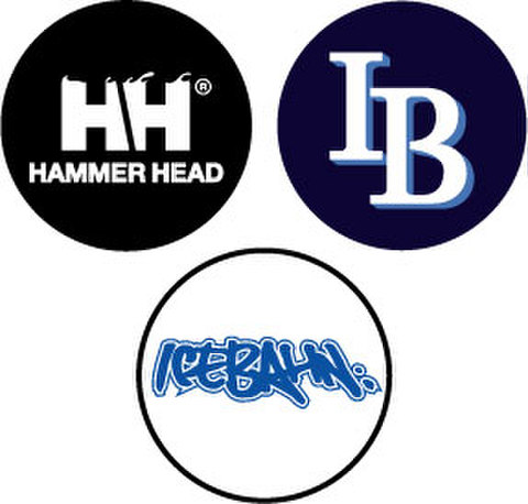 [Set]ICE BAHN / HAMMER HEAD / IB Logo badge Set