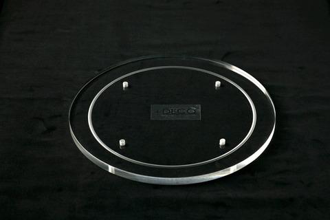 段重用・丸型アクリルプレート  200φ、ネジ穴付