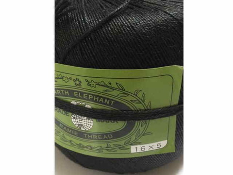 麻糸アースエレファント16/5 450g蝋なし黒 約830m