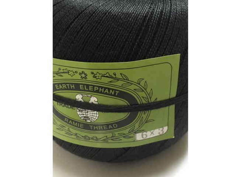 麻糸アースエレファント16/3 450g蝋なし黒 約1400m