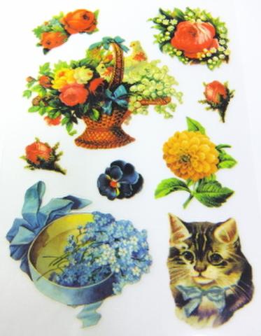 特価品・アンティーク柄アイロンプリント(猫1×花かごJ)