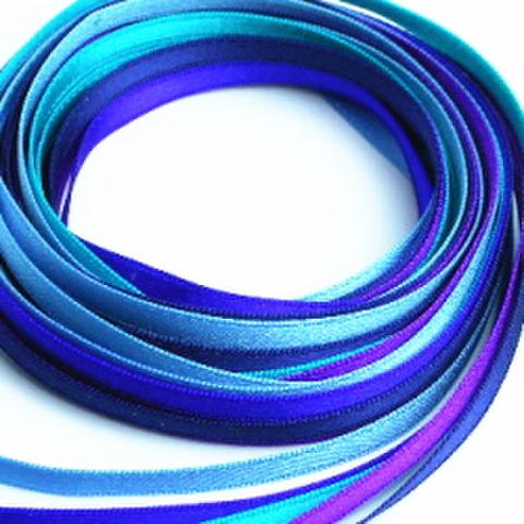 4ミリ幅サテンリボンセット(ブルー系)