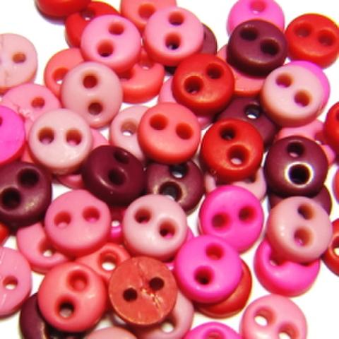 ミニボタン4ミリセット(赤ピンク系)