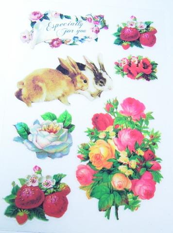 特価品・アンティーク柄アイロンプリントシート(うさぎ2×花×いちごG)