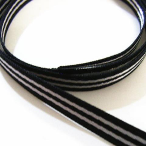 サテンストライプリボン・6ミリ幅(黒)