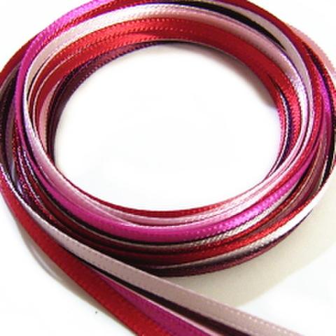 3ミリ幅サテンリボンセット(ピンク系)