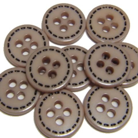 ココアベージュ4つ穴9ミリボタン(ステッチ柄)