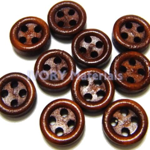 木ボタン4つ穴9.5ミリ(赤茶)