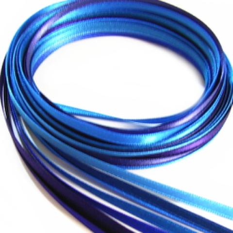 特価品・4ミリ幅サテンリボン10色セット(ブルー系濃いめI)