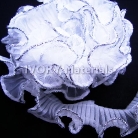 テトロンフリルレース(白×シルバー)