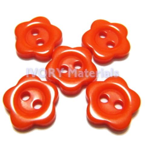 お花のボタン(オレンジ)5ヶセット