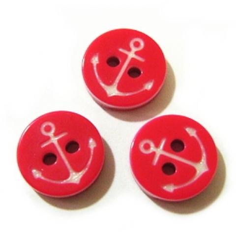 イカリボタン(赤×白)