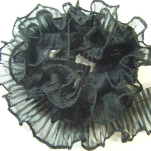 テトロンフリルレース(黒)