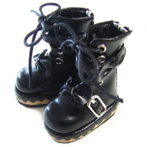 革リボン付スウィートロングブーツ(黒)