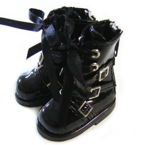 エナメルバックルロングブーツ(黒)