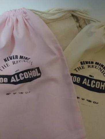 クラッシュドプリント 巾着/NEVER MIND(手刷り)