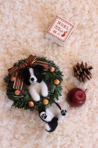 2015クリスマス*リースぶらさがりボーダーコリー