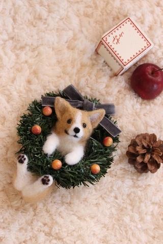 2015クリスマス*リースぶらさがりコーギー
