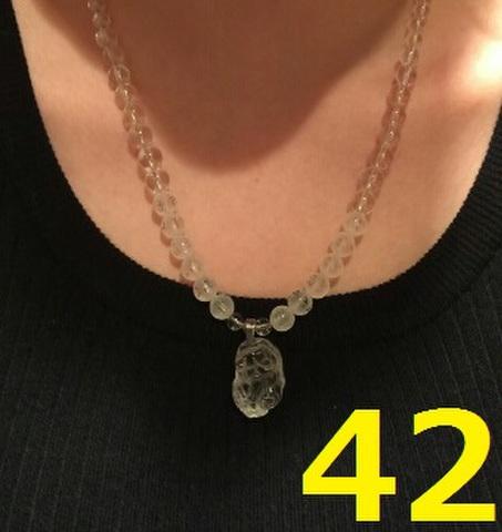 42 金運UP!!水晶貔貅ネックレス