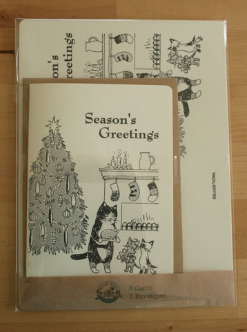 ネコのクリスマスカード 3枚セット
