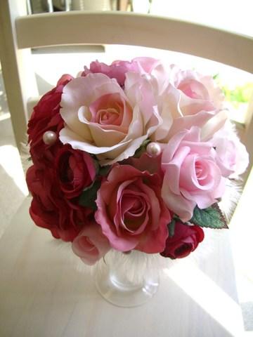 造花ピンクグラデーション+パールのラウンドブーケ&ブートニア