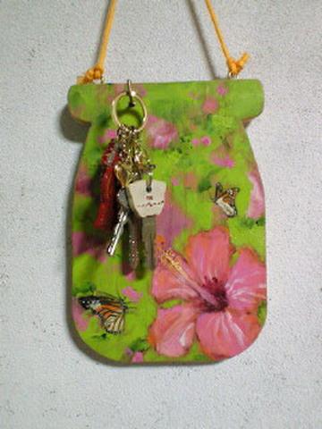ミニアートボード(蝶とハイビスカス)フック付