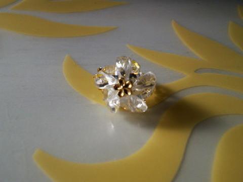 プルメリア水晶リング(ゴールド)