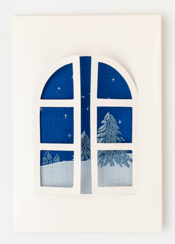 X26 X'masカード窓雪景色