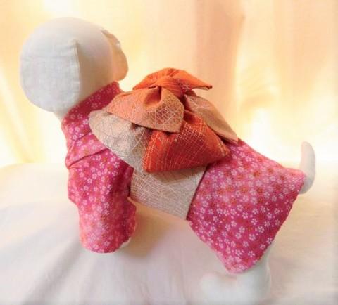 犬用お着物(化繊の着物と正絹の帯のセット)標準デザイン SS~Lサイズ  19000円~