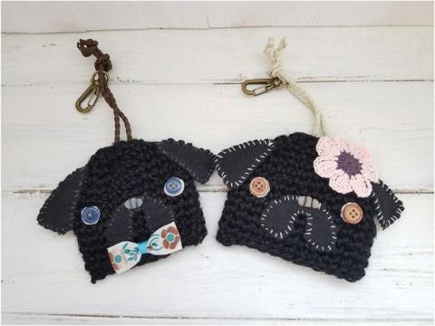 麻かぎ編みパグキーケース 黒