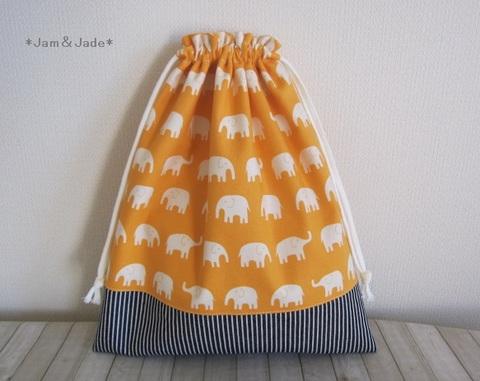ぞうさんとヒッコリーデニムの大きな巾着袋 オレンジ