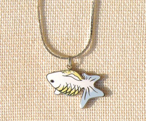 金魚ペンダント 黄と灰と白