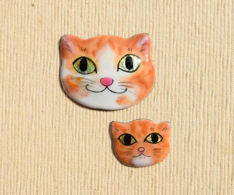 親子猫ブローチ ワンペア トラさん