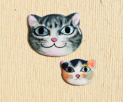親子猫ブローチ ワンペア サバトラさん