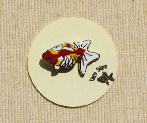 メタル七宝 ピンブローチ 3色A『見上げる金魚』